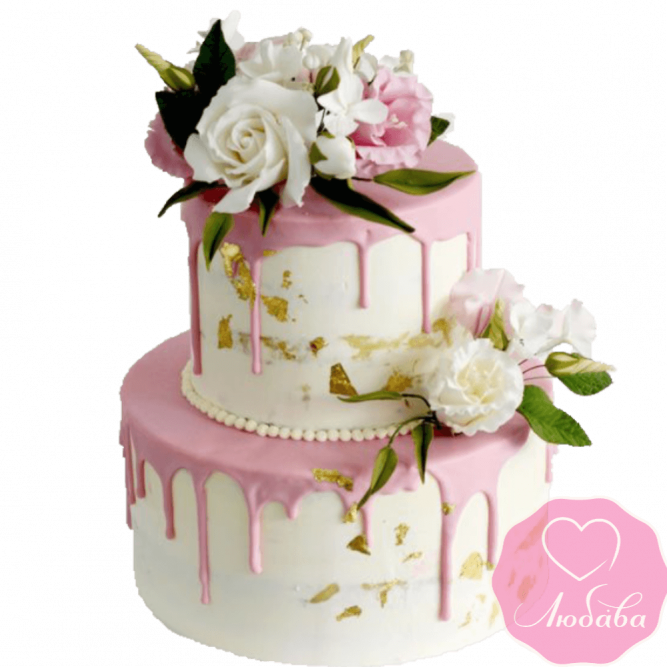 Торт свадебный с живыми цветами №2247