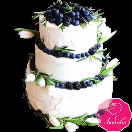 Торт свадебный с ягодами и тюльпанами №2260