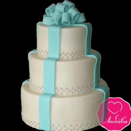 Торт свадебный с бантом №2261