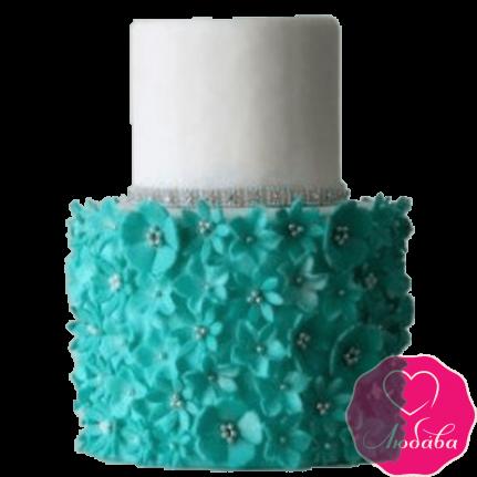 Торт свадебный с бирюзовыми цветами №2279
