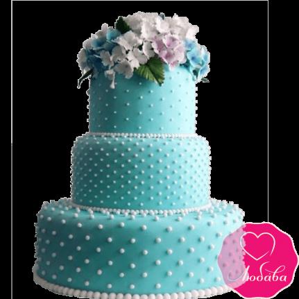 Торт свадебный с полевыми цветами №2280