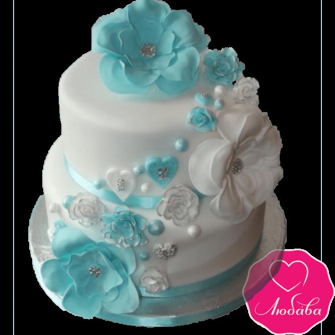 Торт свадебный бело-бирюзовый №2281