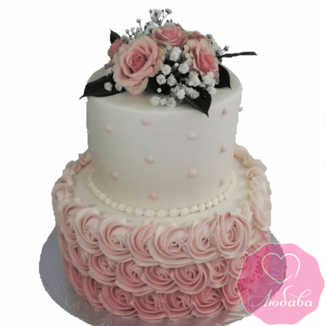 Торт свадебный с розовыми розами №2312