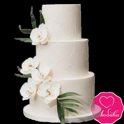 Торт свадебный с орхидеями №2313