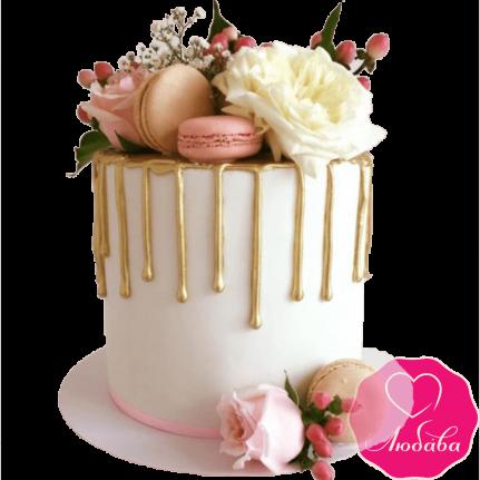 Торт свадебный одноярусный с розами №2314