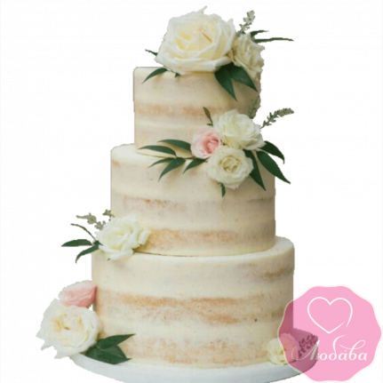 Торт свадебный без мастики с розами №2315