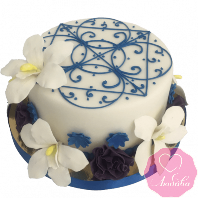 Торт свадебный с узором и орхидеями №2333