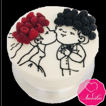 Торт свадебный одноярусный с ягодами №2360