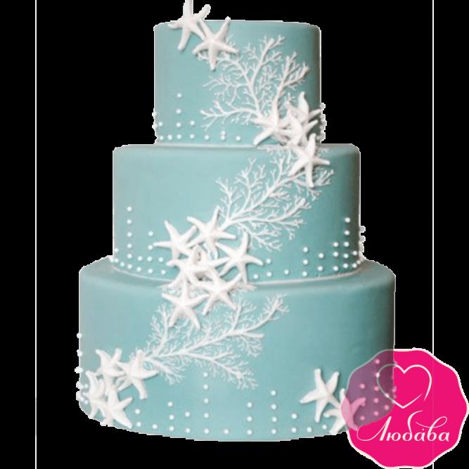 Торт свадебный с морскими звездами №2384