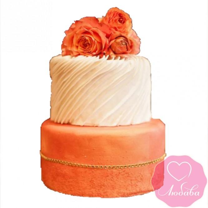 Торт свадебный коралловый с розами №2415