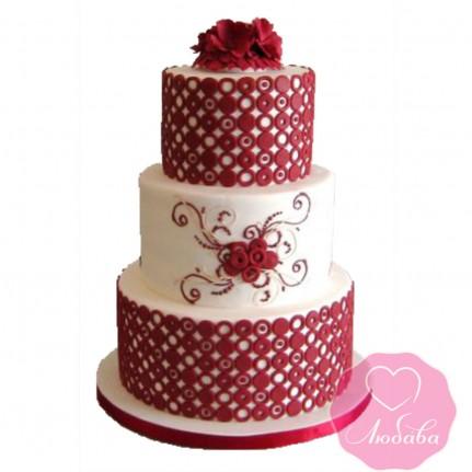 Торт свадебный с красными цветами №2416