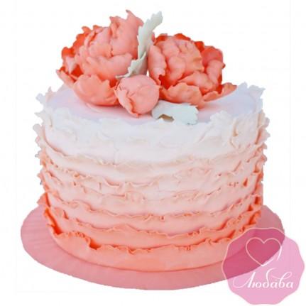 Торт свадебный коралловый одноярусный №2423