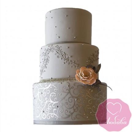 Торт свадебный серый трехъярусный с розой №2424
