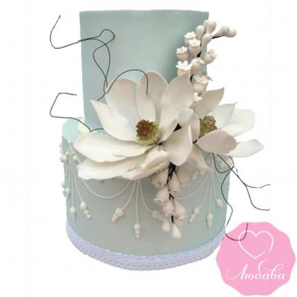 Торт свадебный серый с цветами №2425