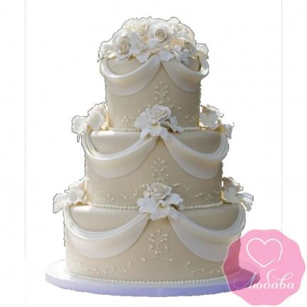 Торт свадебный с лентами и розами №2428