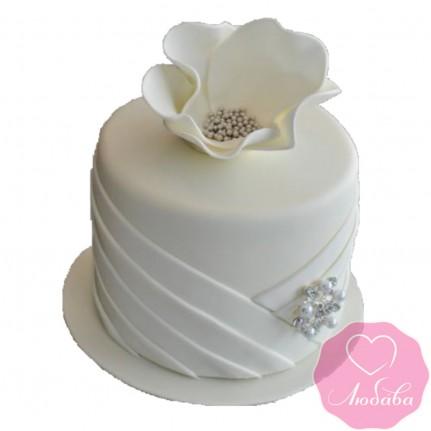 Торт свадебный одноярусный белый №2430
