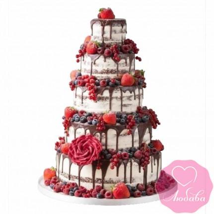 Торт свадебный с ягодами и цветами №2431