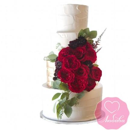 Торт свадебный с живыми розами №2432