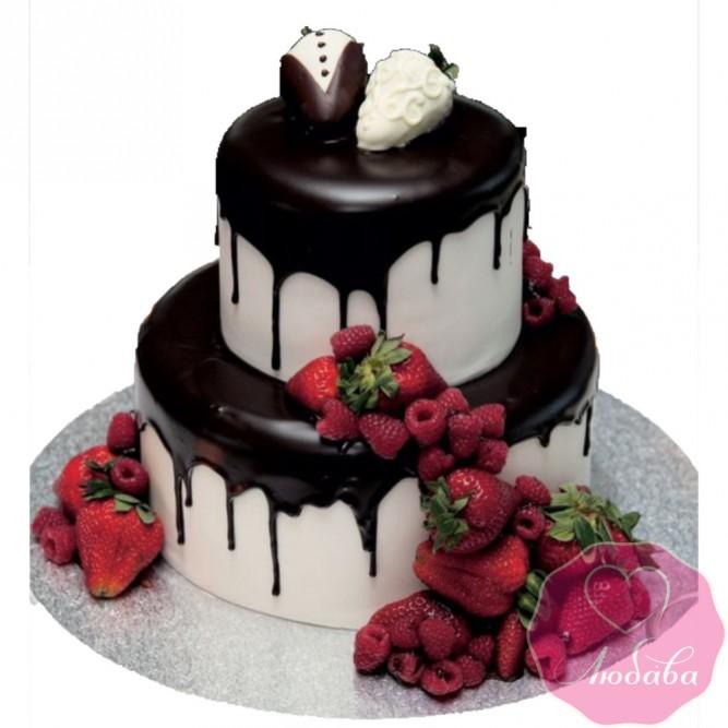 Торт свадебный с ягодами №2433