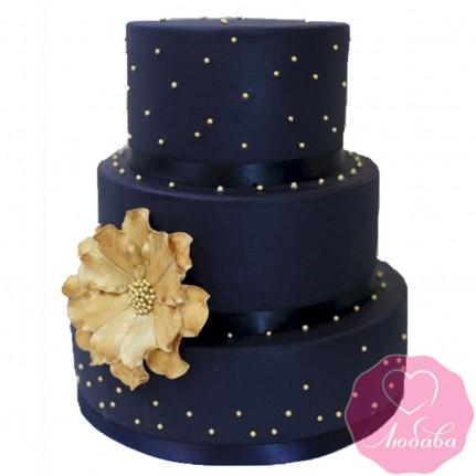 Торт свадебный трехъярусный с цветком №2434