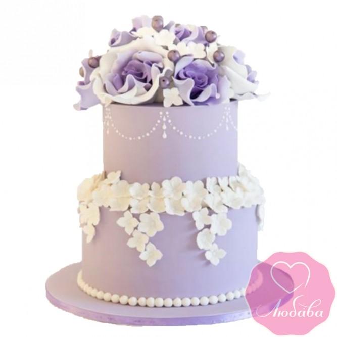 Торт свадебный сиреневый с цветами №2435