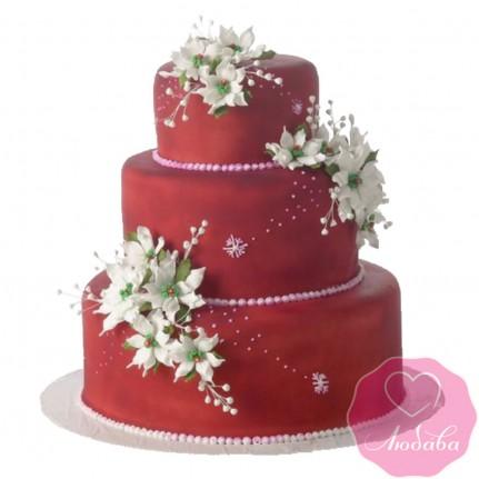 Торт свадебный красный с цветами №2436