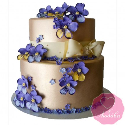 Торт свадебный золотой с цветами №2440