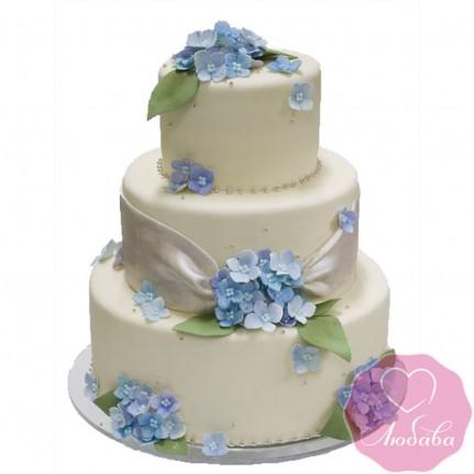 Торт свадебный с незабудками №2441