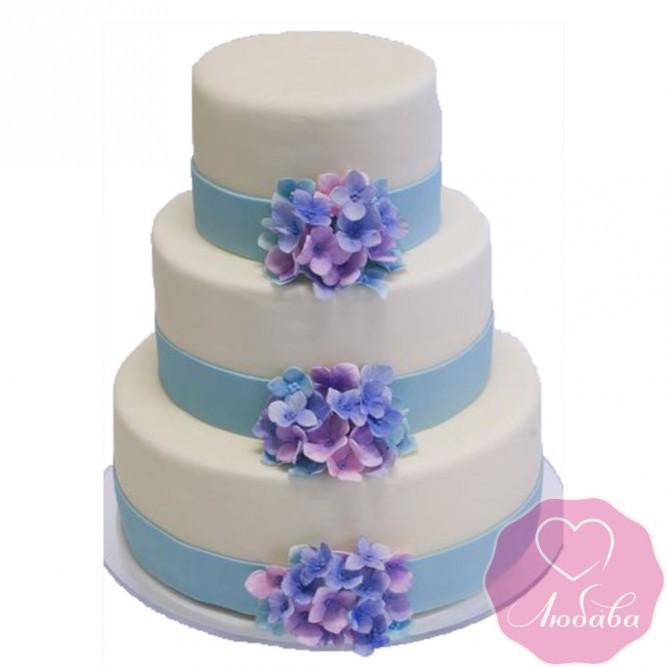 Торт свадебный с трехъярусный с незабудками №2442