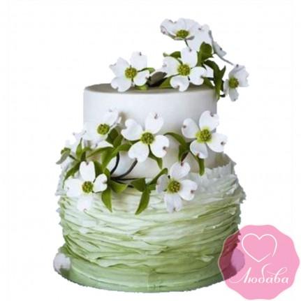 Торт свадебный с цветами №2444