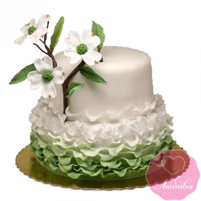 Торт свадебный с цветком космеи №2445
