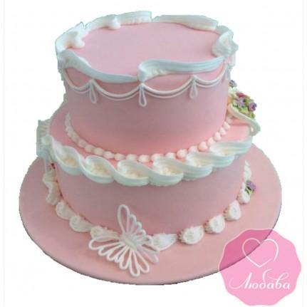 Торт свадебный розовый №2449