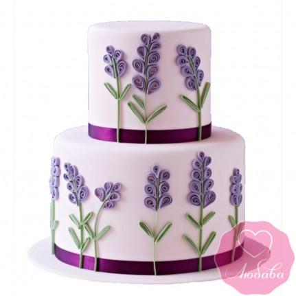 Торт свадебный с ветками лаванды №2451