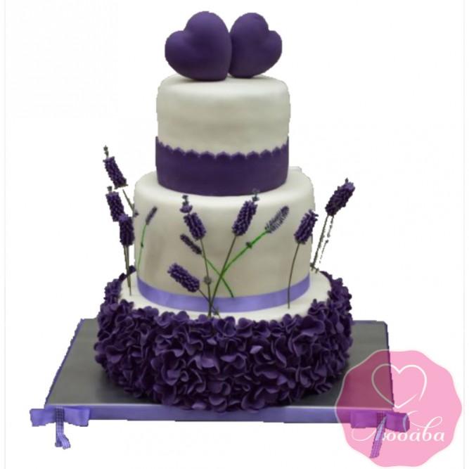 Торт свадебный с сердцами и лавандой №2452