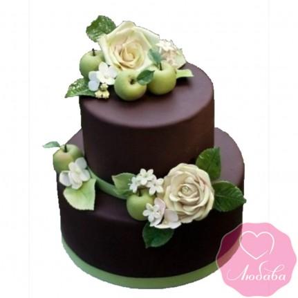 Торт свадебный с розами и яблоками №2465