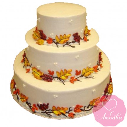 Торт свадебный с осенними листьями №2471