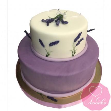 Торт свадебный сиреневый с лавандой №2476