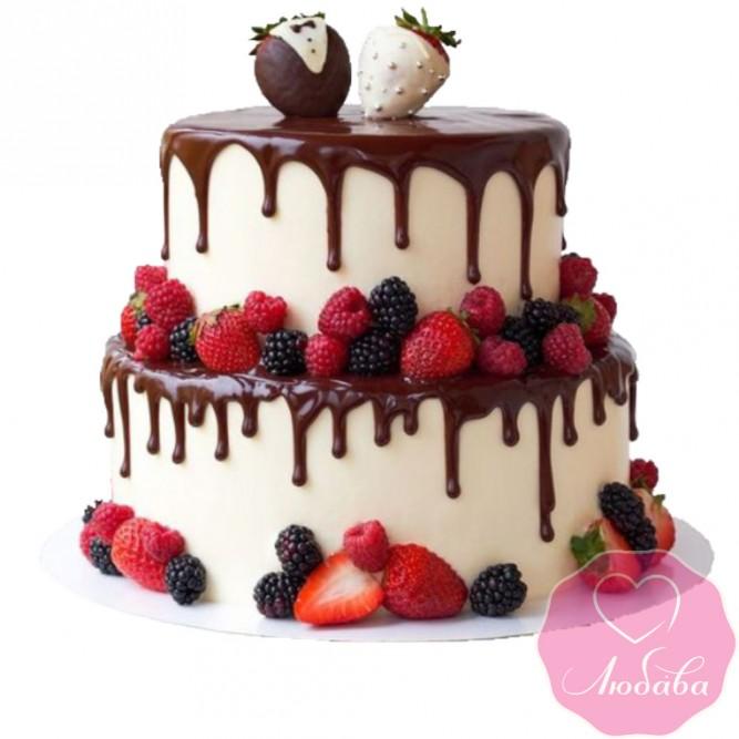 Торт свадебный с ягодами и шоколадом №2481