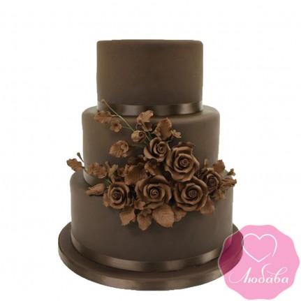 Торт свадебный шоколадный с розами №2482