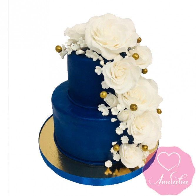 Торт свадебный синий с цветами №2488