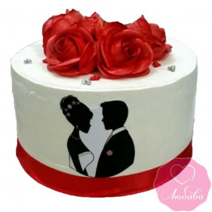 Торт свадебный одноярусный с красными розами №2490