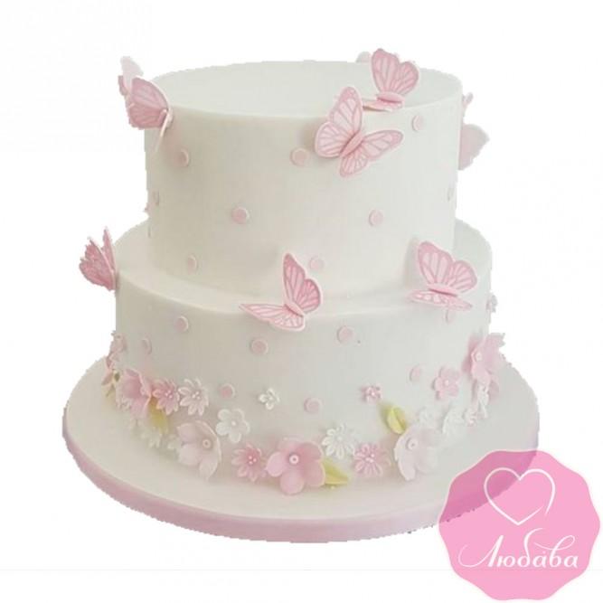 Торт свадебный с бабочками и цветами №2494