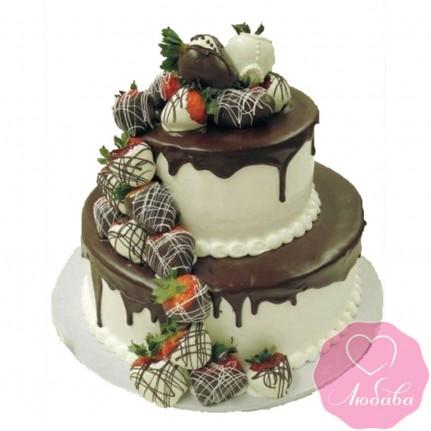 Торт свадебный с клубникой №2507