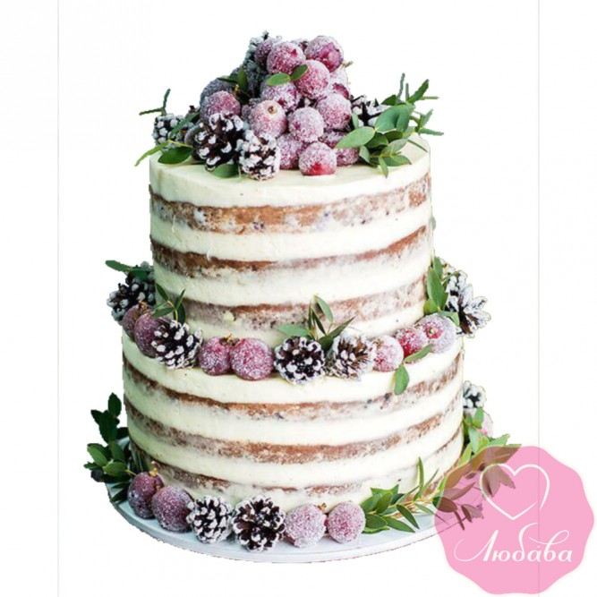 Торт свадебный с ягодами и шишками №2508