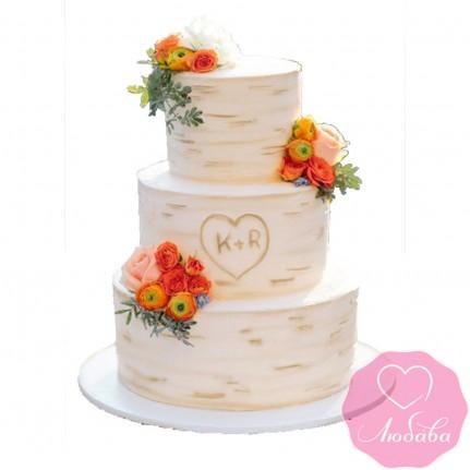 Торт свадебный березка №2509