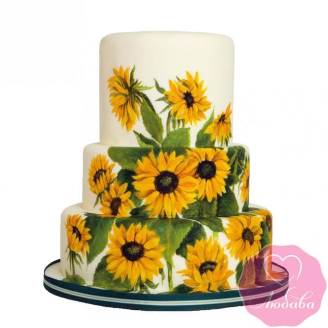 Торт свадебный с цветами подсолнуха №2516