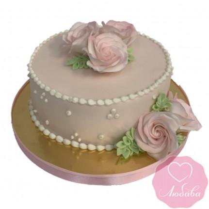 Торт свадебный розовый с цветами №2529