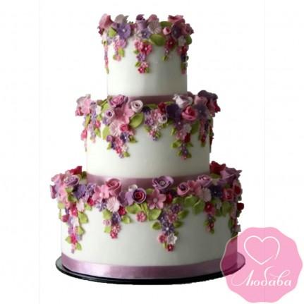 Торт свадебный с летними цветами №2538