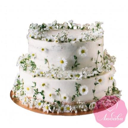 Торт свадебный с ромашками №2539