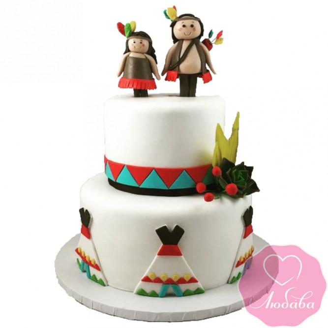 Торт свадебный индейцы №2556